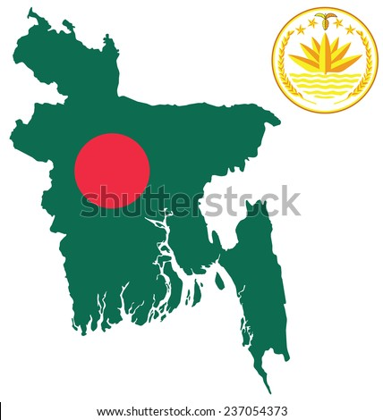Flag and national emblem of the Peoples Republic of Bangladesh overlaid on outline map isolated on white background  - stock vector