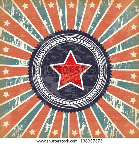 flag and star over vintage background vector illustration - stock vector