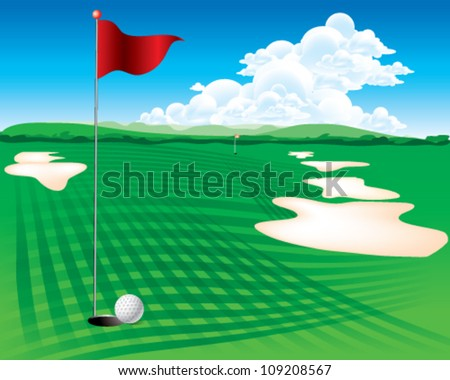 Flag and the golf field - stock vector