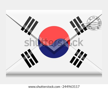 Flag as an open envelope with a letter. Flag of South Korea. Vector. Icon. - stock vector