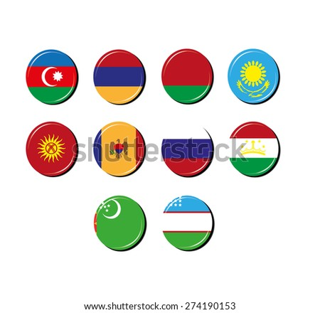 Flag badges of the CIS. Commonwealth of Independent States. - stock vector