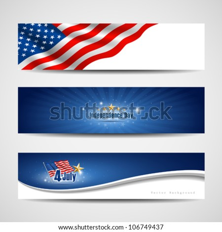 Flag banners collection independence day template backgrounds, vector illustration - stock vector
