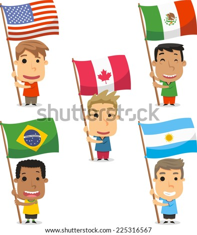 Flag Bearer Kids from America, USA, Mexico, Canada, Brazil, Argentina. Vector illustration cartoon. - stock vector