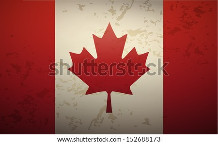 Flag Canada isolated on grunge background vector - stock vector