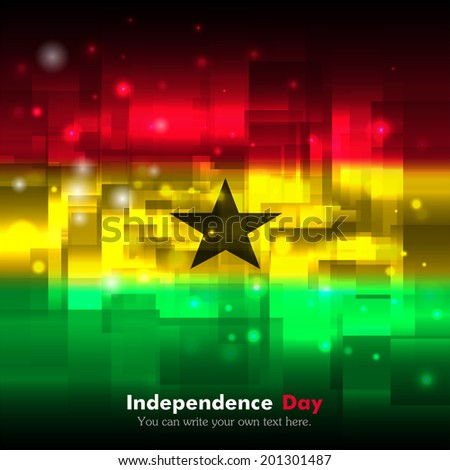 Flag. Glowing background with flag colors. Independence Day. Techno background. Abstract background.  Flag of Ghana - stock vector