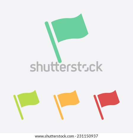 Flag icon. Location marker symbol. Flat design style. - stock vector