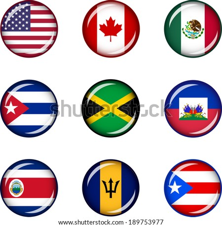 Flag Icons of North America. Vector graphic images of glossy flag icons representing countries within North America.  - stock vector