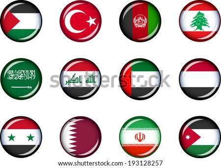 Flag Icons of the Middle East. Vector graphic images of glossy flag icons representing countries within the Middle East.  - stock vector