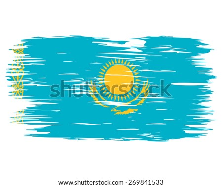 Flag made paint brush. By the day of the country or state holiday. Image. Vector. Icon. Flag of Kazakhstan - stock vector