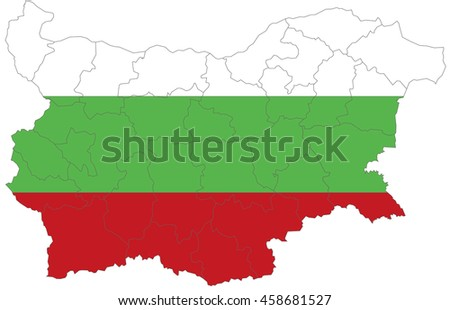 Flag map-bulgaria country on white background. - stock vector