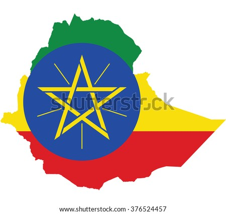 Flag map of Ethiopia - stock vector