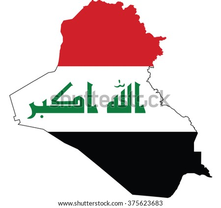 Flag map of Iraq - stock vector