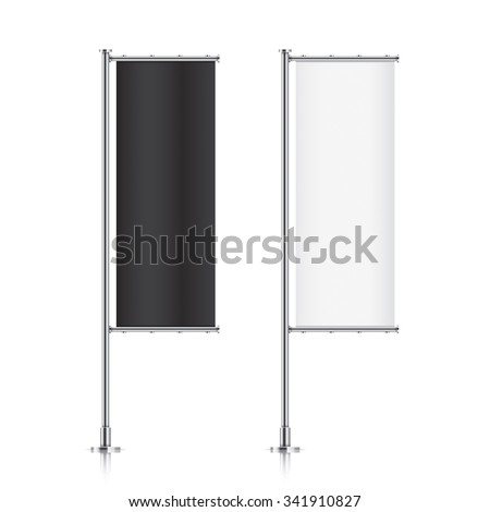 Flag mockup. Banner flag templates. Set of vector advertising flags. Black and white blank vertical flags. Realistic vector illustration. - stock vector