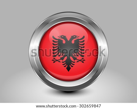 Flag of Albania. Metal Round Icons. This is File from the Collection European Flags - stock vector