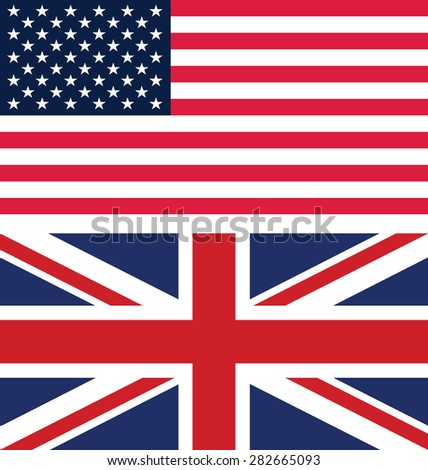Flag of America and United Kingdom - stock vector