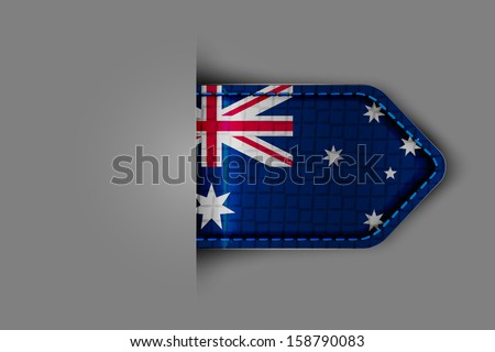 Flag of Australia in the form of a glossy textured label or bookmark. Vector illustration. - stock vector