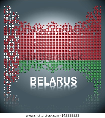 Flag of Belarus made out of square vector blocks, eps10 - stock vector