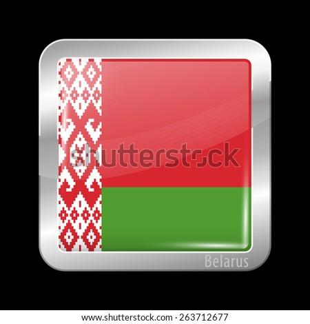 Flag of Belarus. Metal Icons Square Shape. This is File from the Collection European Flags - stock vector