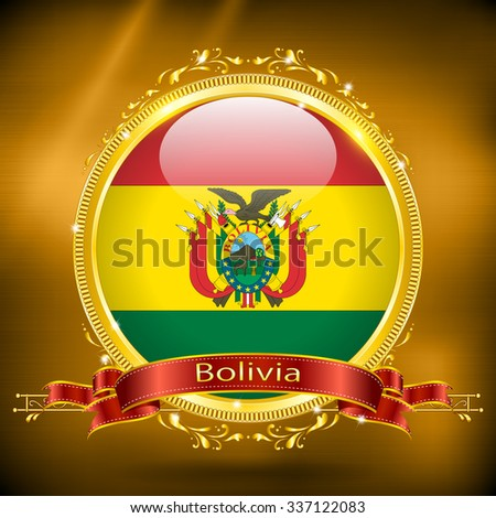Flag of Bolivia in GOLD, vector illustration - stock vector