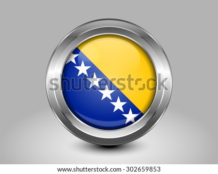 Flag of Bosnia and Herzegovina. Metal Round Icons. This is File from the Collection European Flags - stock vector