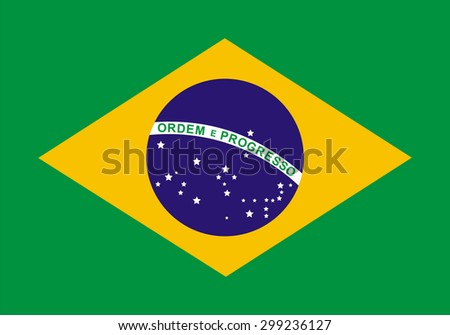 Flag of Brazil. Official state symbol of the Federative Republic of Brazil. Government specification: correct colors, shapes and sizes. Green background. Yellow diamond and blue circle with stars.  - stock vector