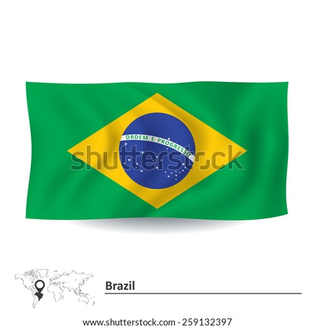 Flag of Brazil - vector illustration - stock vector
