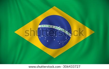 Flag of Brazil - vector illustration - stock vector