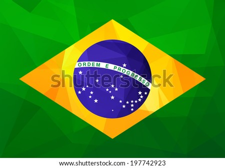 Flag of Brazil with modern triangle patterns - stock vector