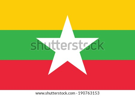 Flag of Burma (the Republic of the Union of Myanmar). Vector. Accurate dimensions, elements proportions and colors. - stock vector