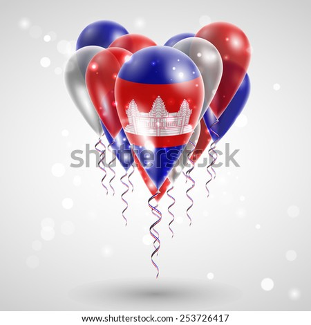 Flag of Cambodia on air balls in heart-shaped. Celebration and gifts. Ribbon in the colors of the flag are twisted under the balloon. Independence Day. Balloons on the feast of the national day.  - stock vector