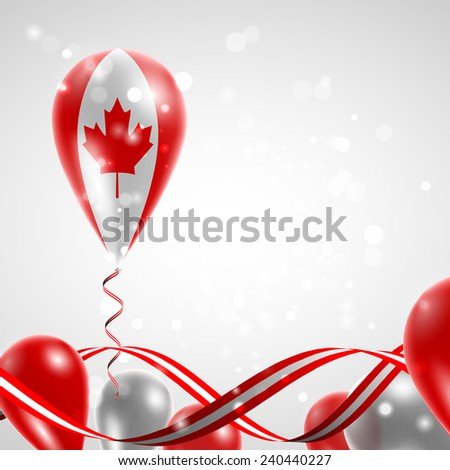 Flag of Canada on balloon. Celebration and gifts. Ribbon in the colors of the flag are twisted under the balloon. Independence Day. Balloons on the feast of the national day.  - stock vector