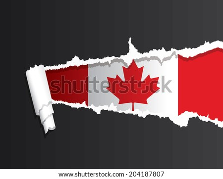 Flag of Canada under ripped paper vector illustration. - stock vector