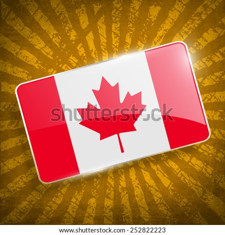 Flag of Canada with old texture. Vector illustration - stock vector