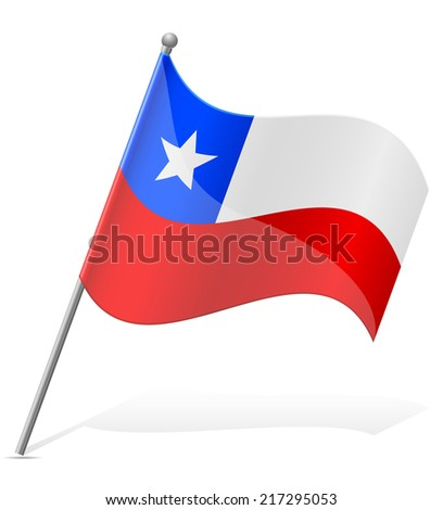 flag of Chile vector illustration isolated on white background - stock vector
