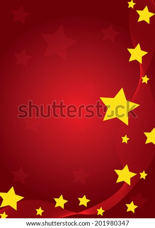 Flag of China. Yellow stars paper cutout hang from roof on red grunge wall - stock vector