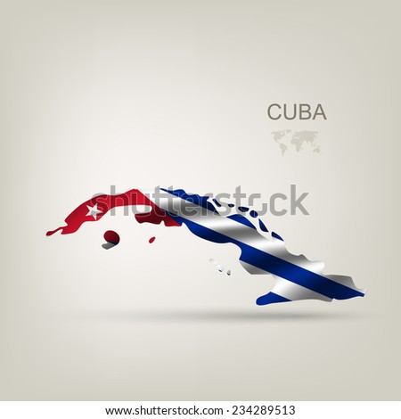 Flag of Cuba as a country with a shadow - stock vector