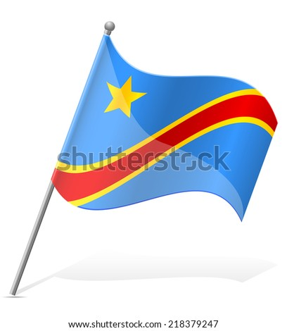 flag of Democratic Republic of Congo vector illustration isolated on white background - stock vector