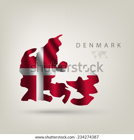 Flag of Denmark as a country with a shadow - stock vector