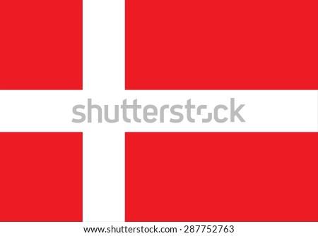 Flag of Denmark, national country symbol illustration, Vector illustration - stock vector