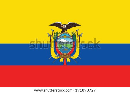Flag of Ecuador with coat of arms. Vector. Accurate dimensions, element proportions and colors. - stock vector