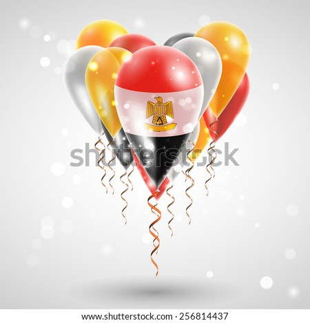 Flag of Egypt on air balls in heart-shaped. Celebration and gifts. Ribbon in the colors of the flag are twisted under the balloon. Independence Day. Balloons on the feast of the national day - stock vector