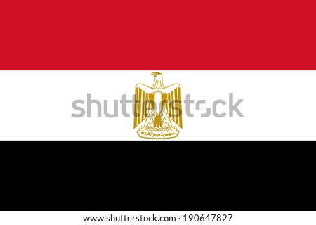 Flag of Egypt with coat of arms. Vector. Accurate dimensions, elements proportions and colors. - stock vector