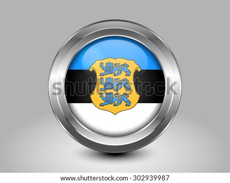 Flag of Estonia. Metal Round Icons. This is File from the Collection European Flags - stock vector