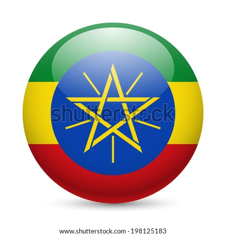 Flag of Ethiopia as round glossy icon. Button with Ethiopian flag - stock vector