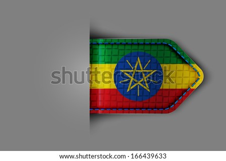 Flag of Ethiopia in the form of a glossy textured label or bookmark. Vector illustration. - stock vector