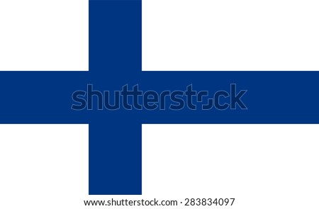 Flag of Finland. Official state symbol. Government specification: exact proportions, shapes, colors. Blue Scandinavian cross on a white background. It can be used to denote the Republic of Finland - stock vector