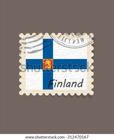 Flag of Finland Stamp Vector - stock vector