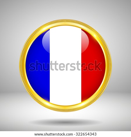 Flag of France in GOLD - stock vector