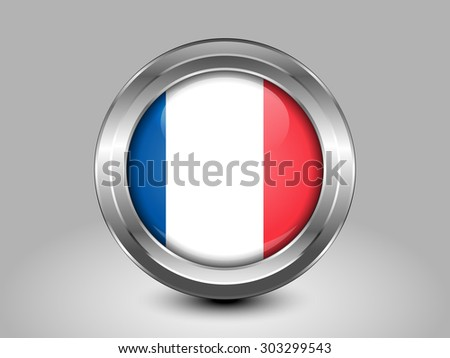 Flag of France with Correct Proportions. Metal Round Icons. This is File from the Collection European Flags - stock vector