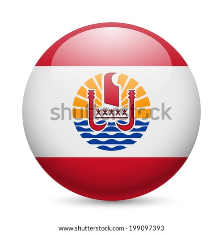 Flag of French Polynesia as round glossy icon. Button with flag design - stock vector